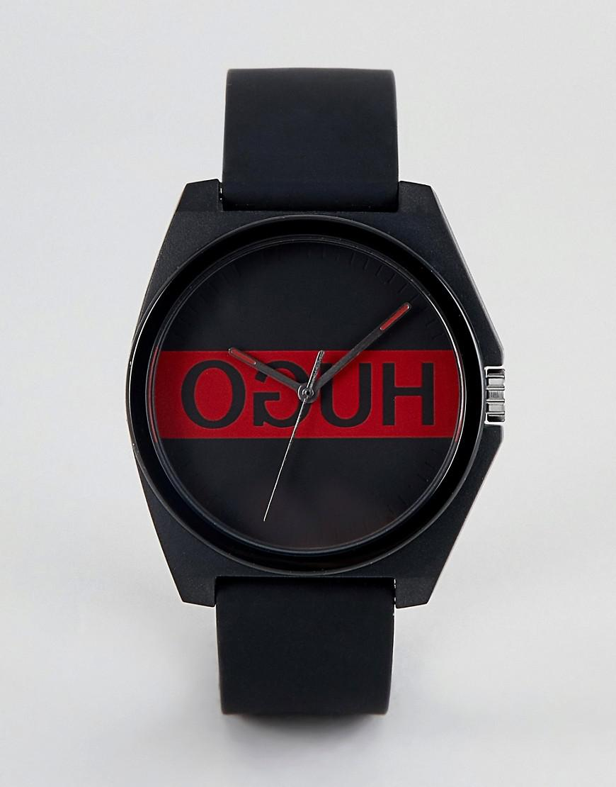 Hugo 1520015 Play Logo Dial Silicone Strap In Black - Black