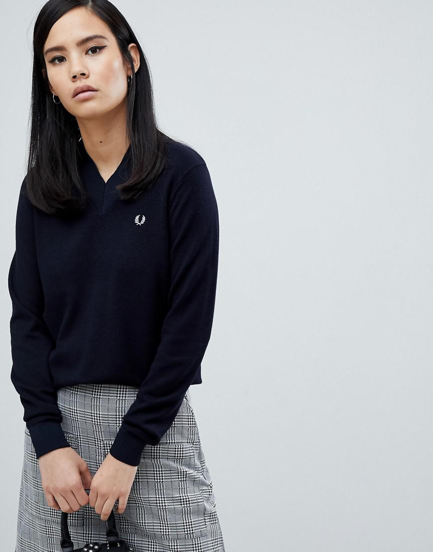 Fred Perry V-neck Knit Sweater - Navy