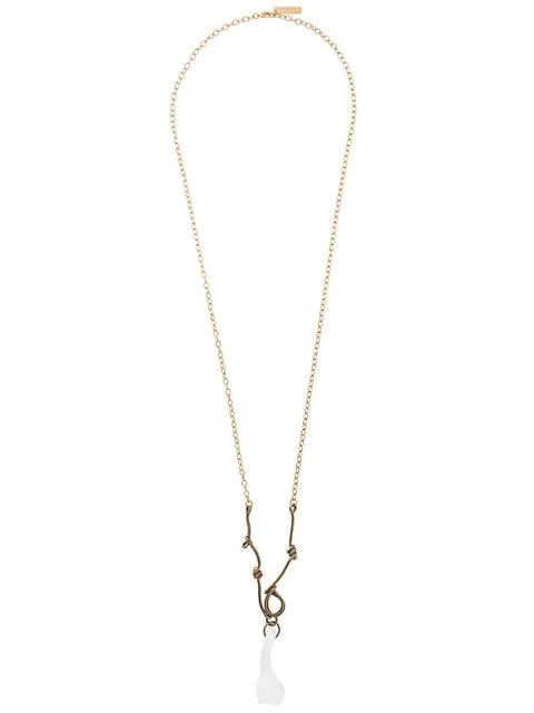 Marni Flower Pendant Necklace In Metallic