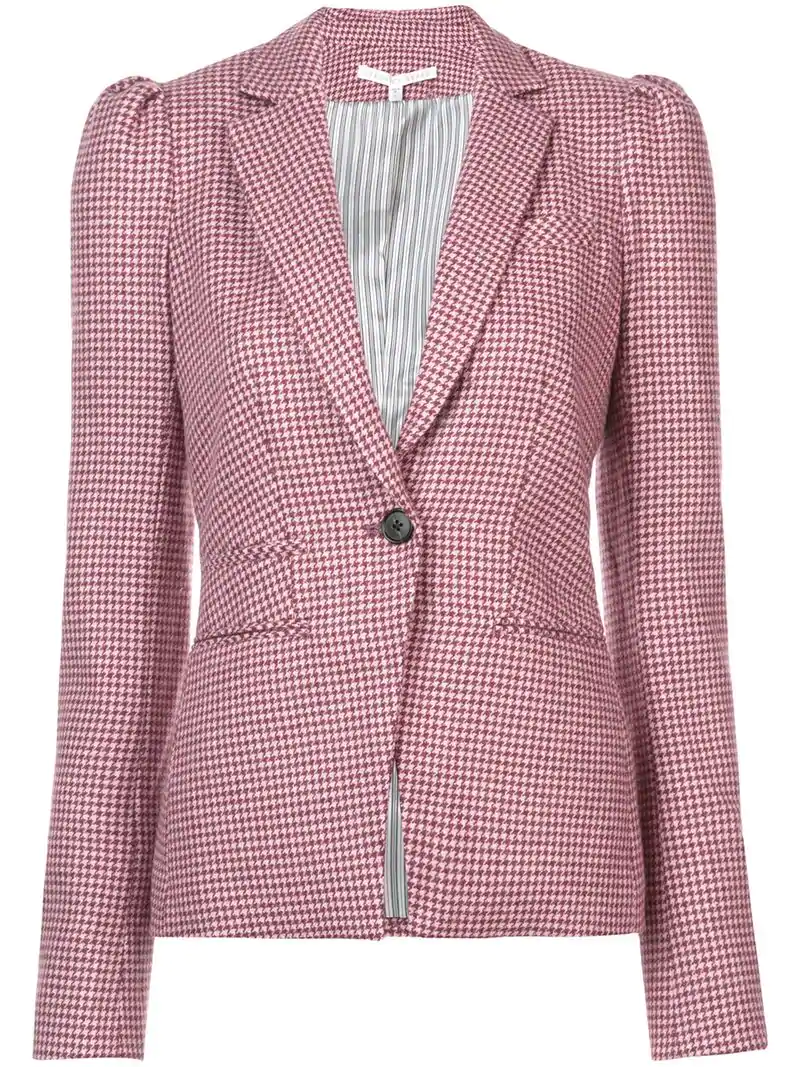 Veronica Beard Gingham Patterned Blazer - Pink