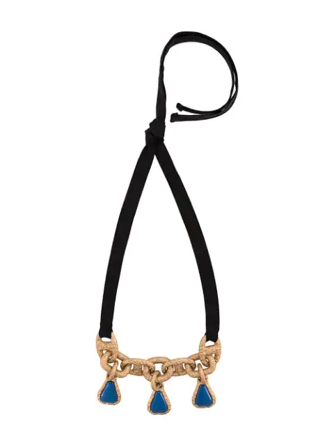 Marni Cable Chain And Ribbon Necklace In Metallic