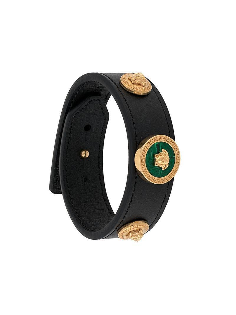Versace Front Logo Emblem Bracelet - Black