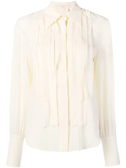 ChloÉ Pleated Placket Shirt In Neutrals