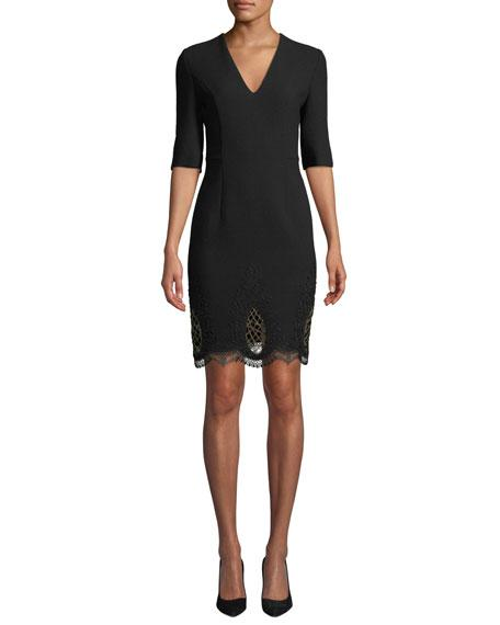 Kiton V-neck Elbow-sleeve Wool-crepe Dress W/ Embroidered Hem In Black