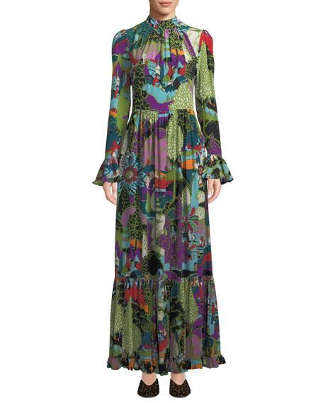 Double J Dragon-flow Landscape-print Long-sleeve A-line Maxi Dress In Multi