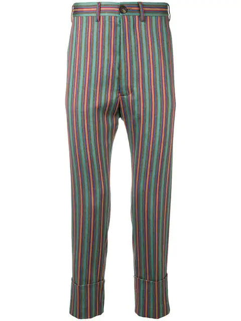 Vivienne Westwood Fancy Stripes Cropped James Bond Trousers In 001f Multicolour Stripes
