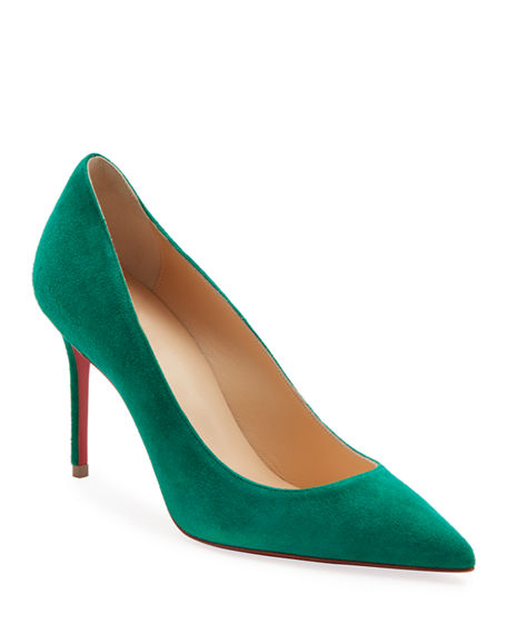 Christian Louboutin Decollete 85mm Suede Red Sole Pumps In Green
