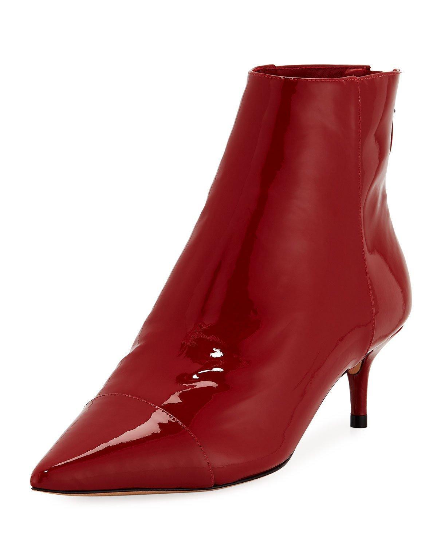 Alexandre Birman Kittie Patent Point-toe Booties In Red