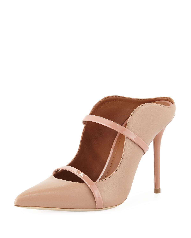 Malone Souliers Maureen High-heel Leather Mules In Beige