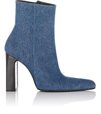 Balenciaga Denim Round-Toe Block-Heel Booties In Blue