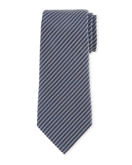 Ermenegildo Zegna Micro Stripe Silk Tie In Blue