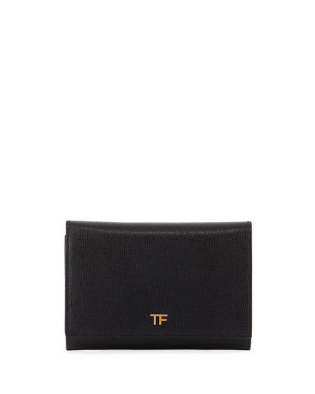 Tom Ford Saffiano Flap Line Wallet In Black