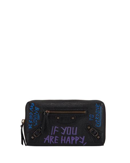 Balenciaga Classic Graffiti Continental Zip-around Wallet, Black Pattern