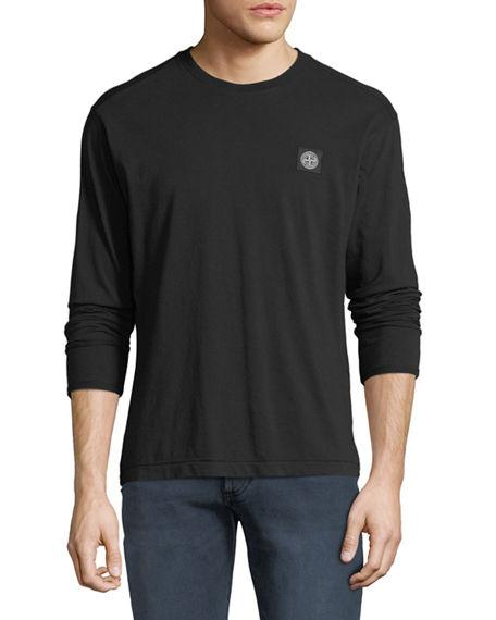 Stone Island Men's Chest-logo Long-sleeve T-shirt In Black