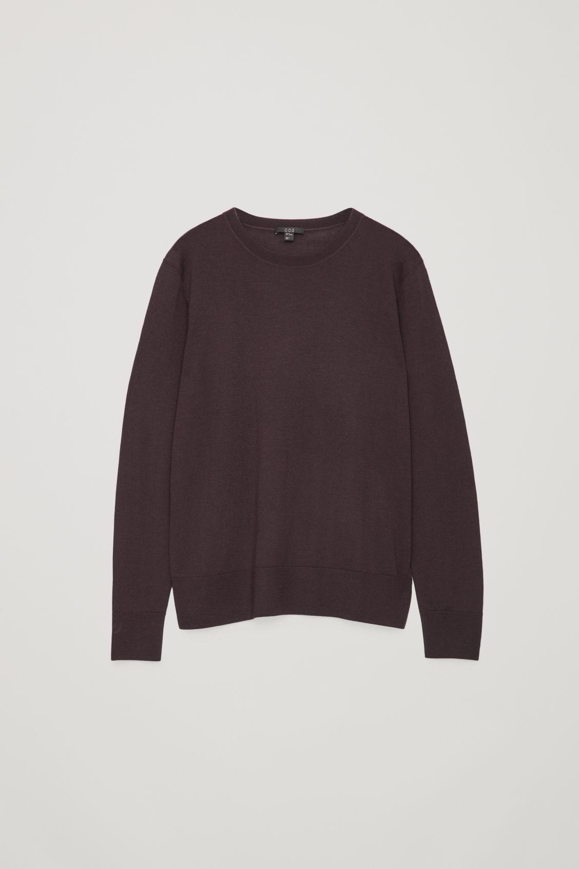 Cos Round-neck Merino Jumper In Purple