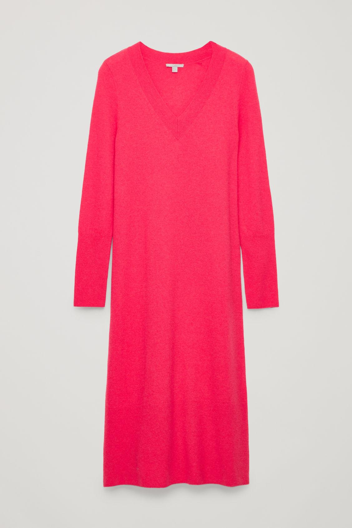 Cos Long Wool-knit Jumper Dress In Pink