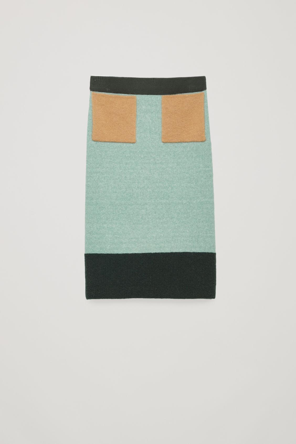 Cos Colour-block Wool Skirt In Green