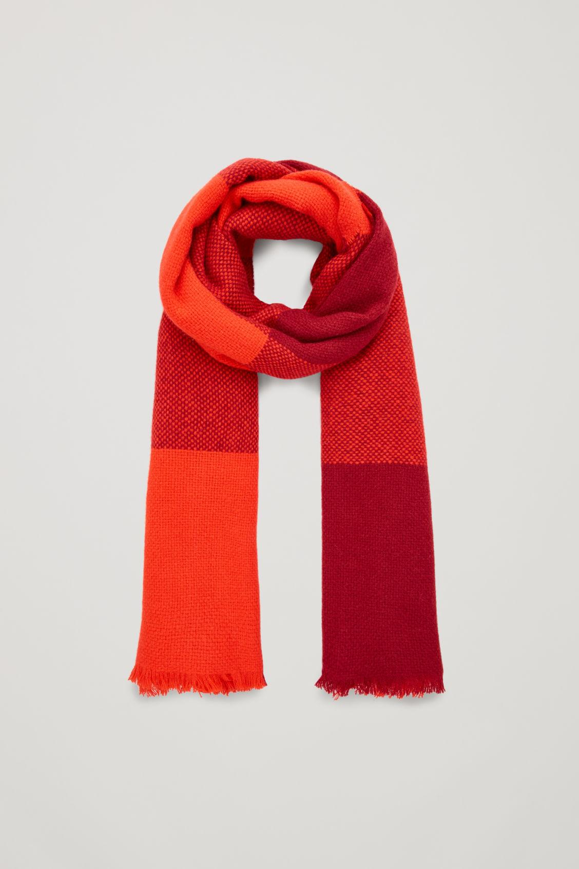 Cos Oversized Wool Scarf In Red