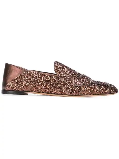 Rochas Glitter Loafers In Multicolour
