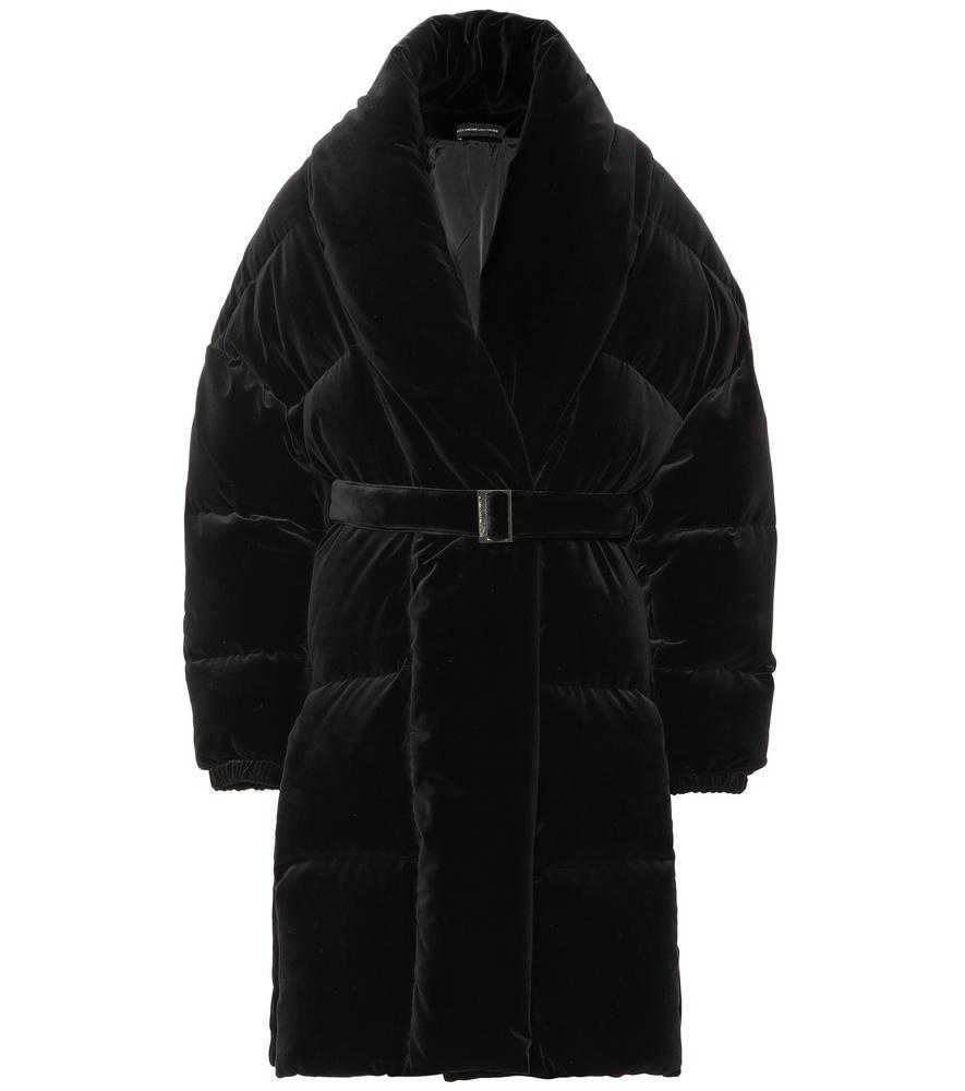 Alexandre Vauthier Velvet Puffer Coat In Black