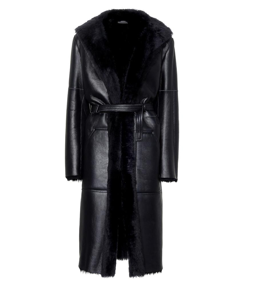 Joseph Hank Leather And Shearling Coat In Blue