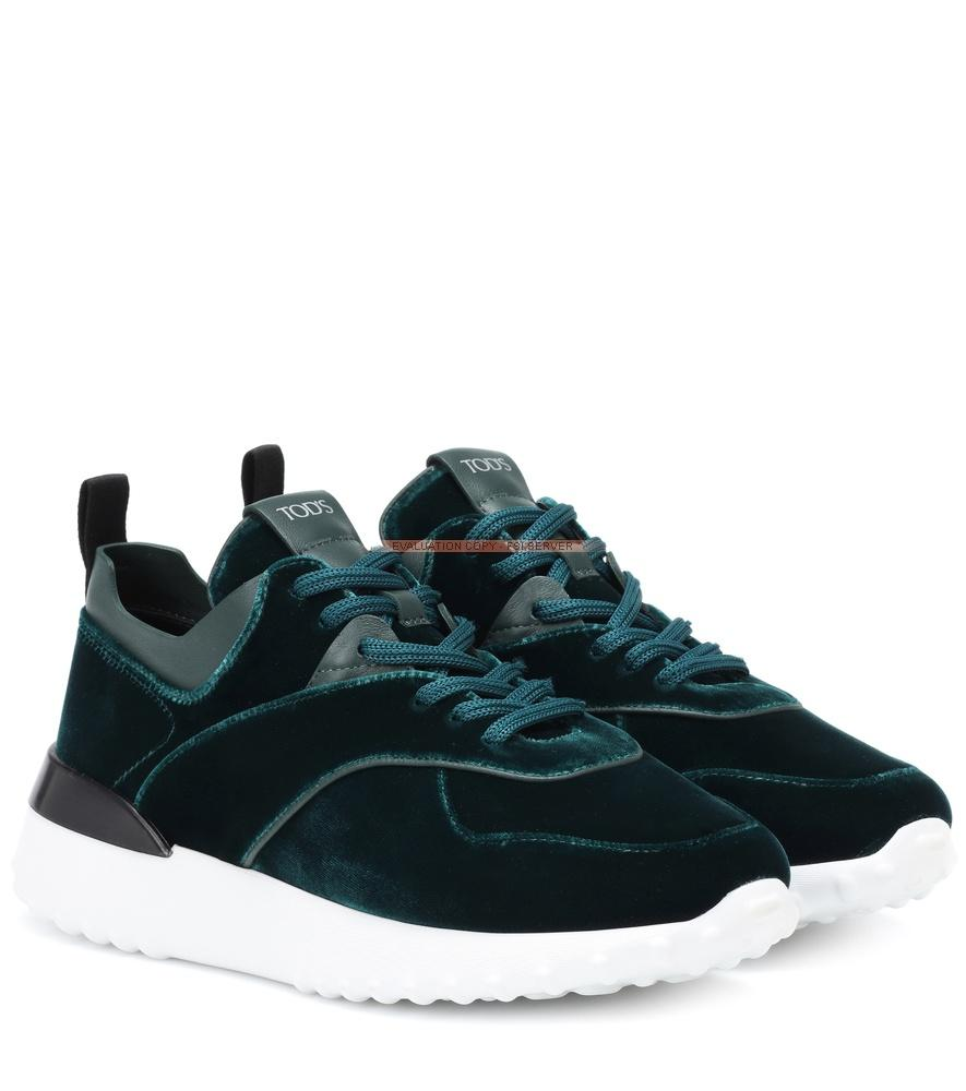 Tod's Exclusive To Mytheresa - Velvet Sneakers In Green