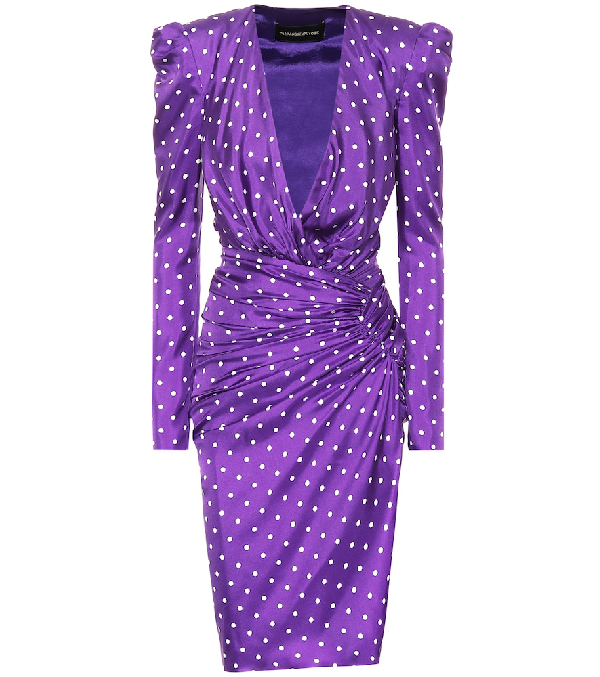 Alexandre Vauthier Polka-dot Wrapped-waist Puff-shoulder Sheath Dress In Purple