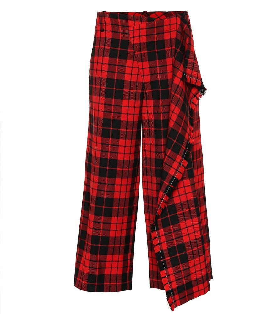 Monse Plaid Wool Pants In Red