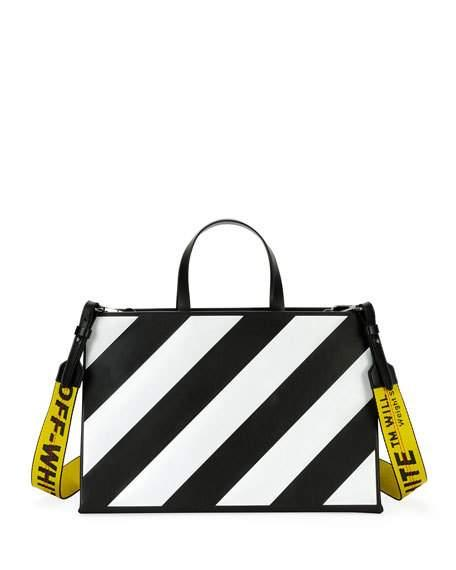 Off-white Medium Diagonal-stripe Box Tote Bag, Black/white