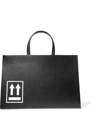 Off-white Printed Leather Tote In Black