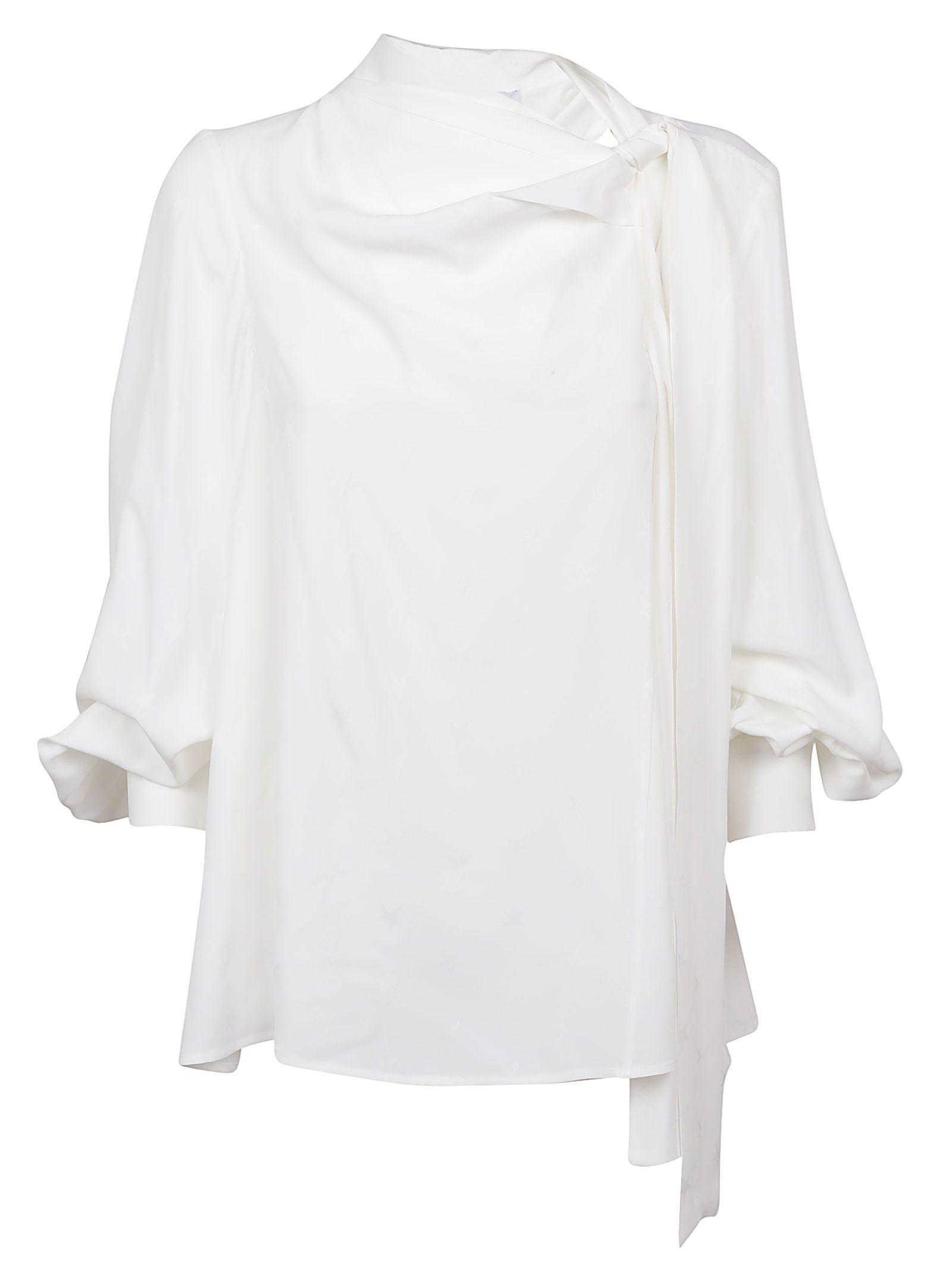 Msgm Lace Up Blouse In Bianco