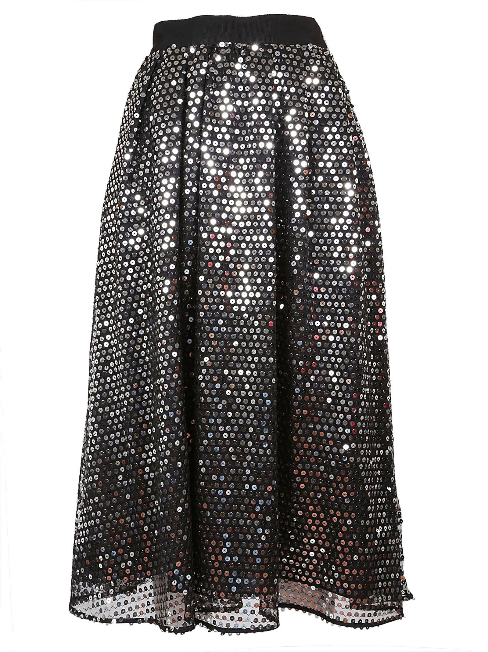 Msgm Sequin Skirt In Argento