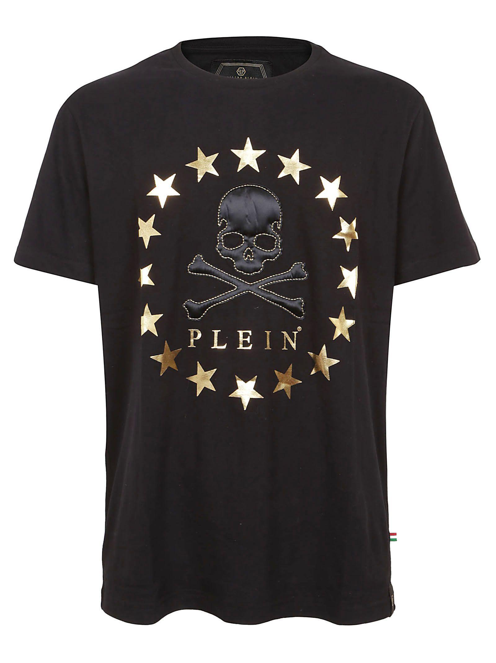 Philipp Plein Embellished Skull T-shirt In Black Gold