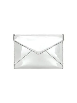 Rebecca Minkoff Leo Mirror Leather Envelope Clutch In Silver