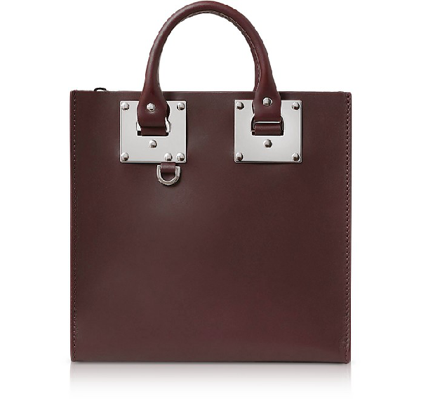 Sophie Hulme Oxblood Saddle Leather Square Albion Tote In Burgundy