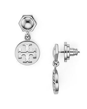 Tory Burch Hexagonal & Logo Circle Drop Earrings In Silver