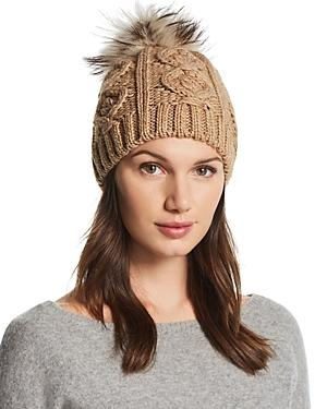 Echo Fur Pom-pom Cable-knit Beanie - 100% Exclusive In Beige