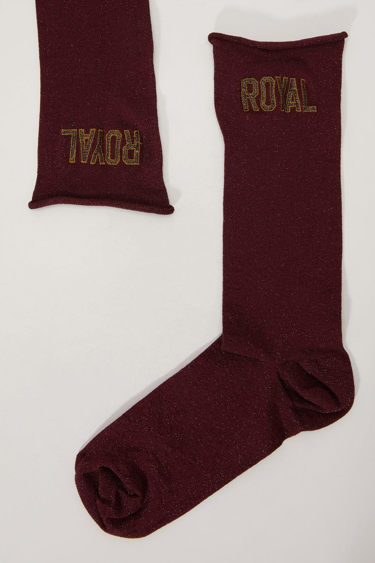 Dolce & Gabbana Lurex Socks In Bordeaux