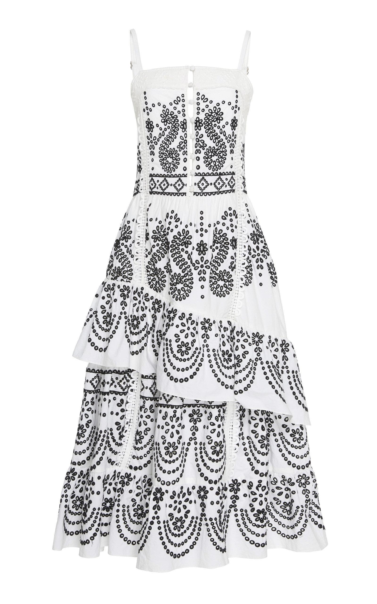 Marissa Webb Adriana Embroidered Dress In Black/white