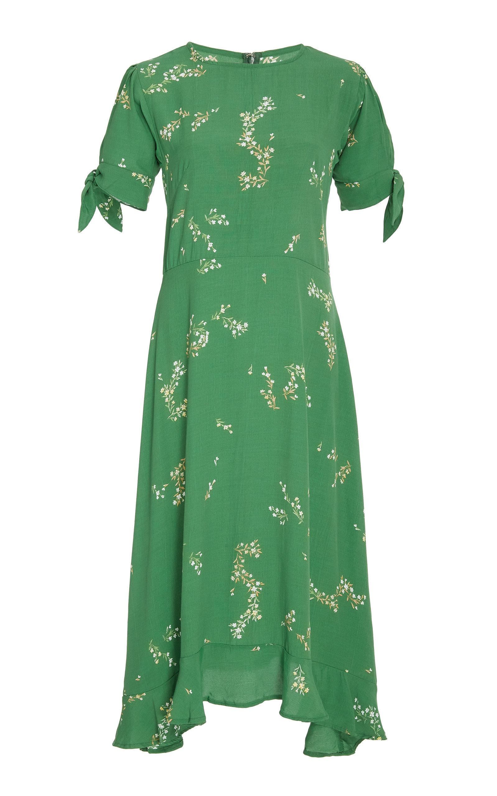 Faithfull Emilia Crepe De Chine Midi Dress In Green