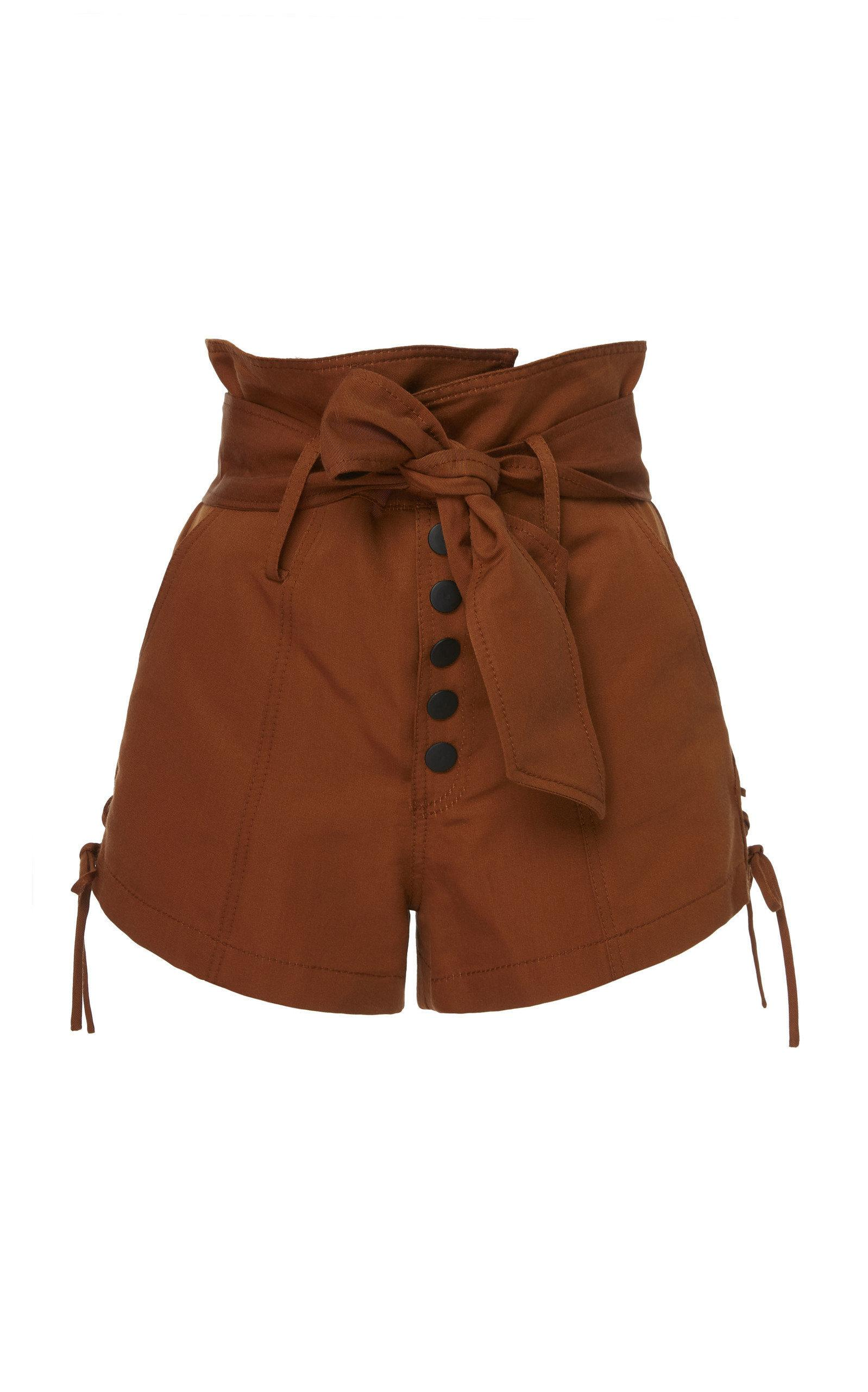Marissa Webb Gia Faille Shorts In Brown