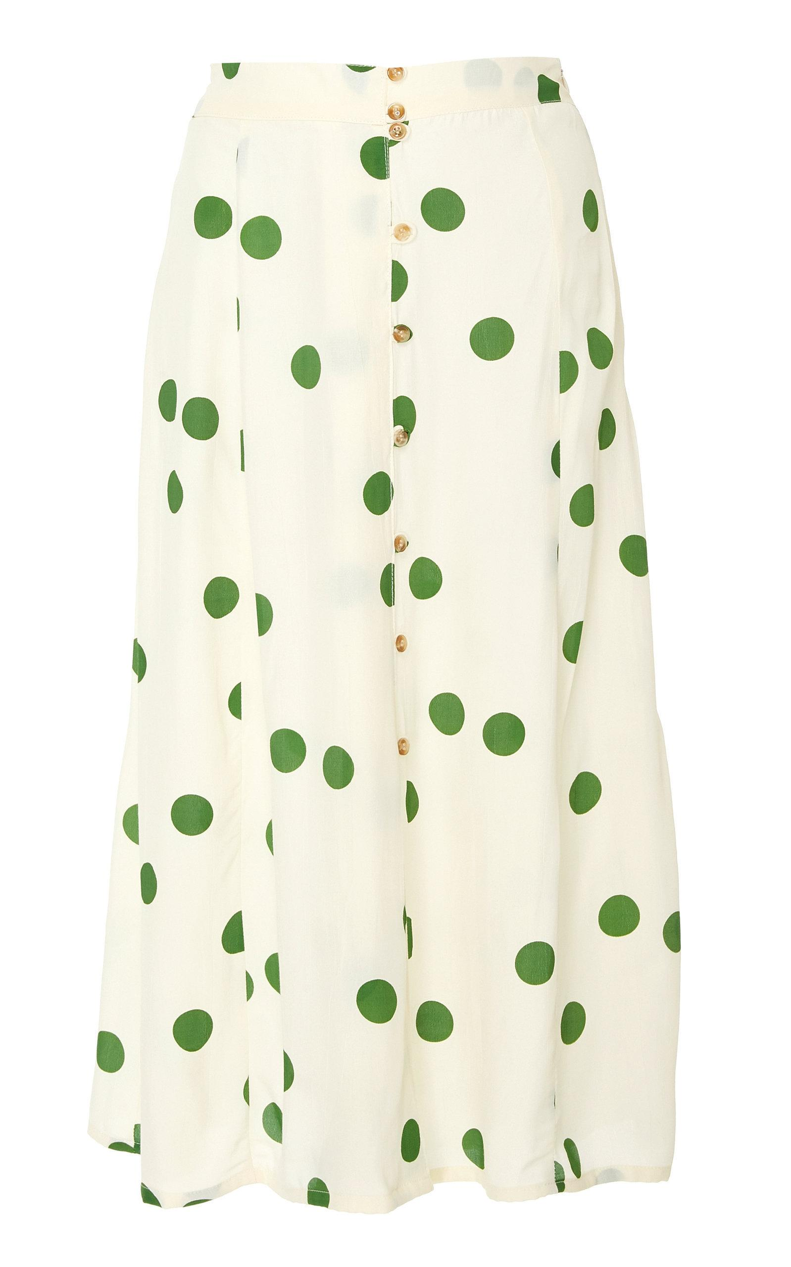 Faithfull Marin Polka-dot Crepe Midi Skirt In Print