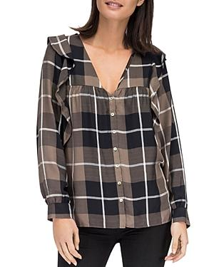 B Collection By Bobeau Pangra Plaid Ruffle Blouse In Olive Plaid