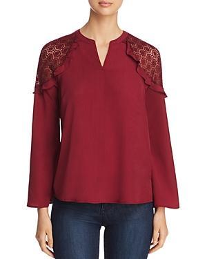 Design History Lace Shoulder Top In Bordeaux