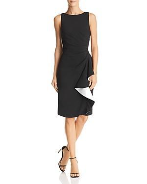Carmen Marc Valvo Ruffled Crepe Dress In Black/white