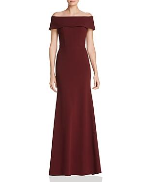 Aqua Off-the-shoulder Scuba Crepe Gown - 100% Exclusive In Burgundy