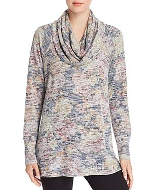 Cupio Cowl Neck Space-dye Floral Tunic In Floral Print
