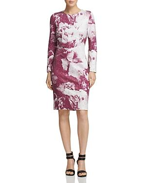 Donna Karan Long Sleeve Sequined Floral Sheath Dress In Mulberry Print