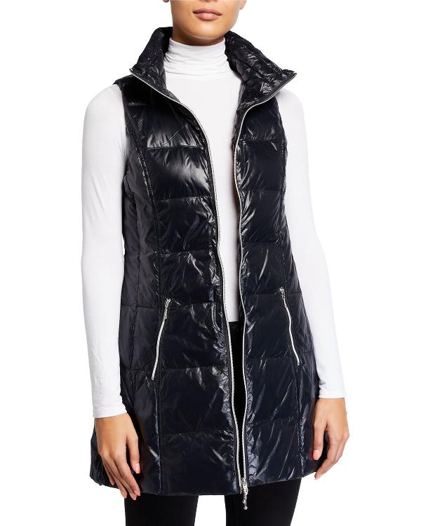 Fillmore Long Down Puffer Vest In Black