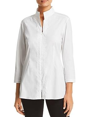 Misook Embroidered Zip Front Top In White